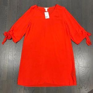 NWT H&M V Neck 3/4 Sleeve Orange Sheath Dress